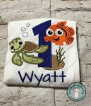 Number One Sea Turtle, Fish, Sand, Seaweed and Bubbles Applique ~ Great for Under the Sea Birthday