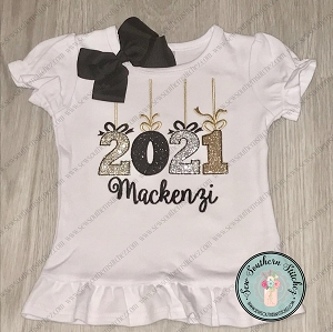 Raggedy 2021 New Year Applique Design with Bows ~ New Year Applique