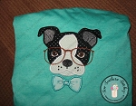 Boston Terrier Applique Design ~ Satin Finish Dog Applique  ~ Bowtie and Glasses