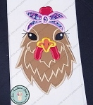 Headband Chicken/Hen Applique Design ~ Chick Wearing Bandana/Headband ~ Satin Stitch Finish