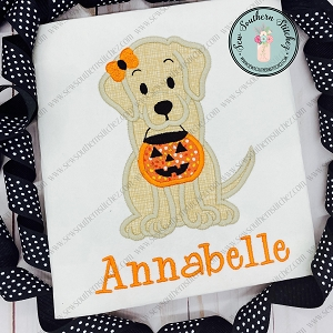 Girl Labrador Dog with Halloween Bucket Applique Design ~ Halloween Applique Design