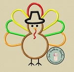 Pilgrim Hat Turkey Applique Design ~ Thanksgiving Turkey