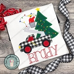 Christmas Bucket Truck Applique Design ~ Blanket/ Buttonhole Finish ~ Utility/Lineman Truck ~ Christmas Lights on Tree Applique