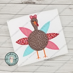 Girl Turkey Applique Design ~ Buttonhole Finish Stitch