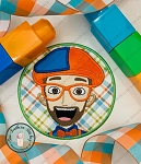 Blippi Head Circle Applique Design ~ Satin Finish