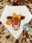 Cow Head With Bow Applique Design ~ Tag on Ear for Number or Monogram ~ Satin Finish