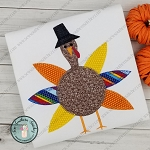 Boy Turkey Applique Design ~ Buttonhole Finish Stitch ~ Pilgrim Hat