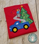 Christmas Bucket Truck Applique Design ~ Satin Finish ~ Utility/Lineman Truck ~ Christmas Lights on Tree Applique