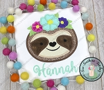 Floral Crown Sloth Applique Design ~ Safari Animal