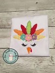 Floral Girl Turkey Face Applique Design ~ ZigZag Feathers ~ Boho Chic