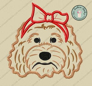 Head Band Doodle Dog Applique ~ Golden Doodle Dog Applique