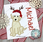 Santa Hat Labrador Dog Applique Design ~ Christmas Dog