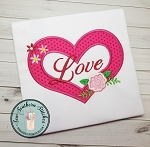 Love & Flowers Heart Applique Design ~ Valentine's Day Design