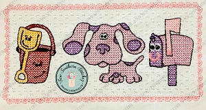 Faux Smocked Blues Clues Magenta, Pail and Shovel and Mailbox Friend Trio Embroidery Design