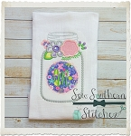 Floral Mason Jar Applique Design ~ Great for Monograms
