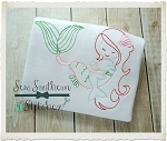 Sweet Mermaid Girl With Dolphin ~ Vintage~Sketch~Bean~Heirloom Stitch