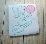 Mermaid Silhouette Applique Design - Mermaid Monogram Applique Design
