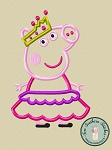 Pepper Pig Wearing Crown and Tiered Dress Applique Design
