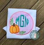 Fall Monogram Circle Applique Design ~ Monogram Circle Pumpkin