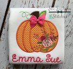 Floral Pumpkin Applique Design ~ Fall Pumpkin