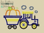 Pumpkin Tractor With Trailer Applique Design