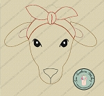 Raggedy Sheep Wearing Headband ~ Do-Rag Applique Design ~ Boho Country Farm Animal