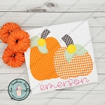 Raggedy Pumpkin Duo Applique Design ~ Fall Pumpkins ~ Bean Stitch Finish