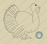 Raggedy Turkey Silhouette Applique Design 2 ~ Thanksgiving Turkey