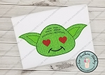 Raggedy Green Yoda Applique Head ~ Yoda Head with Heart Eyes