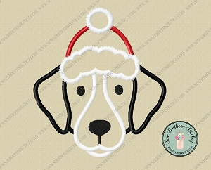 Santa Hat Dog Head Applique Design ~ Christmas Mutt