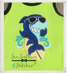 Shark on Surfboard Applique Design - Beach Time Surfing Shark Applique