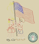 Sketched Girl and Boy Raising The Flag ~ Vintage Stitched ~ Heirloom Stitched ~ Bean Stitched