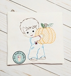 Sketch and Motif Boy Holding Pumpkin Embroidery Design ~ Triple Bean, Sketch, Vintage, Heirloom, Motif