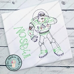 Sketched Buzz Lightyear ~ Outer Space Toy ~ Vintage Stitched ~ Heirloom Stitched ~ Bean Stitched