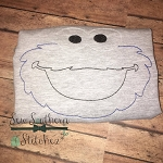 Sketch Blue Cookie Monster Head ~ Triple Bean ~ Back Stitch ~ Heirloom ~ Vintage ~ Red Work ~ Floss
