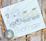 Sketch Pumpkin Train Embroidery Design ~ Fall and Halloween ~ Triple Bean, Heirloom, Vintage, Back Stitch