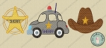 Sketch Filled Sheriff Car, Sheriff Star Badge, Sheriff Hat Embroidery Design ~ Vintage~Sketch~Bean~Heirloom Stitch