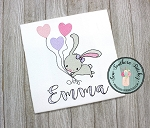 Sketchy Girl Bunny Embroidery Design ~ Floating Bunny ~ Sketchy Balloons