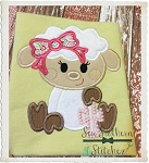 Sweet Girl Easter Lamb with Cross Applique Design