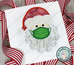 Masked Swirly Santa Head Applique Design ~ Masked Santa ~ Go Away Covid