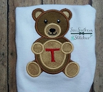 Teddy Bear with Monogrammable Tummy Applique Design