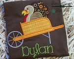 Turkey in Wheelbarrow Applique Design