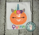 Floral Unicorn Pumpkin Applique Design ~ Fall Pumpkin ~ Pumpkin with Floral Crown