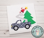 Blanket Stitch Utility Truck Santa Applique Design ~ Christmas