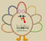 Girly Turkey Applique Design ~ Buttonhole Finish Stitch