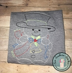 Vintage Snowman Design ~ Bean, Sketch, Heirloom, Redwork, Backstitch