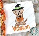 Witch Hat Labrador Dog Applique Design ~ Halloween Applique Design