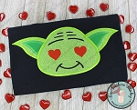 Green Yoda Guy Applique Head ~ Yoda Head with Heart Eyes