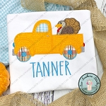 Zig Zag Turkey Truck Applique Design ~ Old Truck Hauling a Turkey